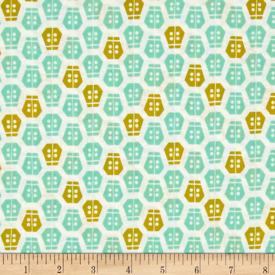 Cloud 9 Organic Vignette Ladybug Turquoise Fabric by Cloud 9 in USA