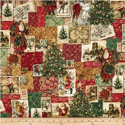 Holiday Shimmer Metallic Postcard Patchwork Pine/Gold