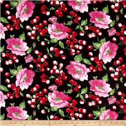 Stretch Denim Cherry Floral Red/Black