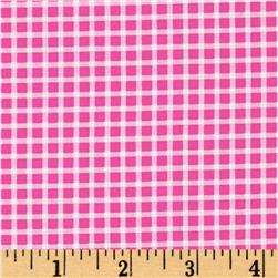Michael Miller Cute Zoo Plaid Watermelon Pink