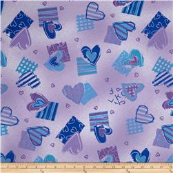 Cotton Lycra Jersey Knit Hearts Lavender