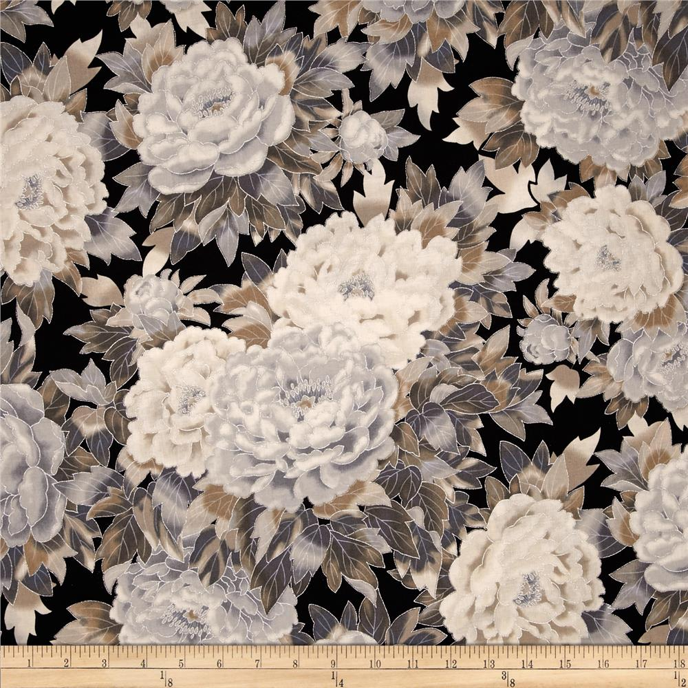 Kaufman Imperial Collection Metallic Large Flowers Antique