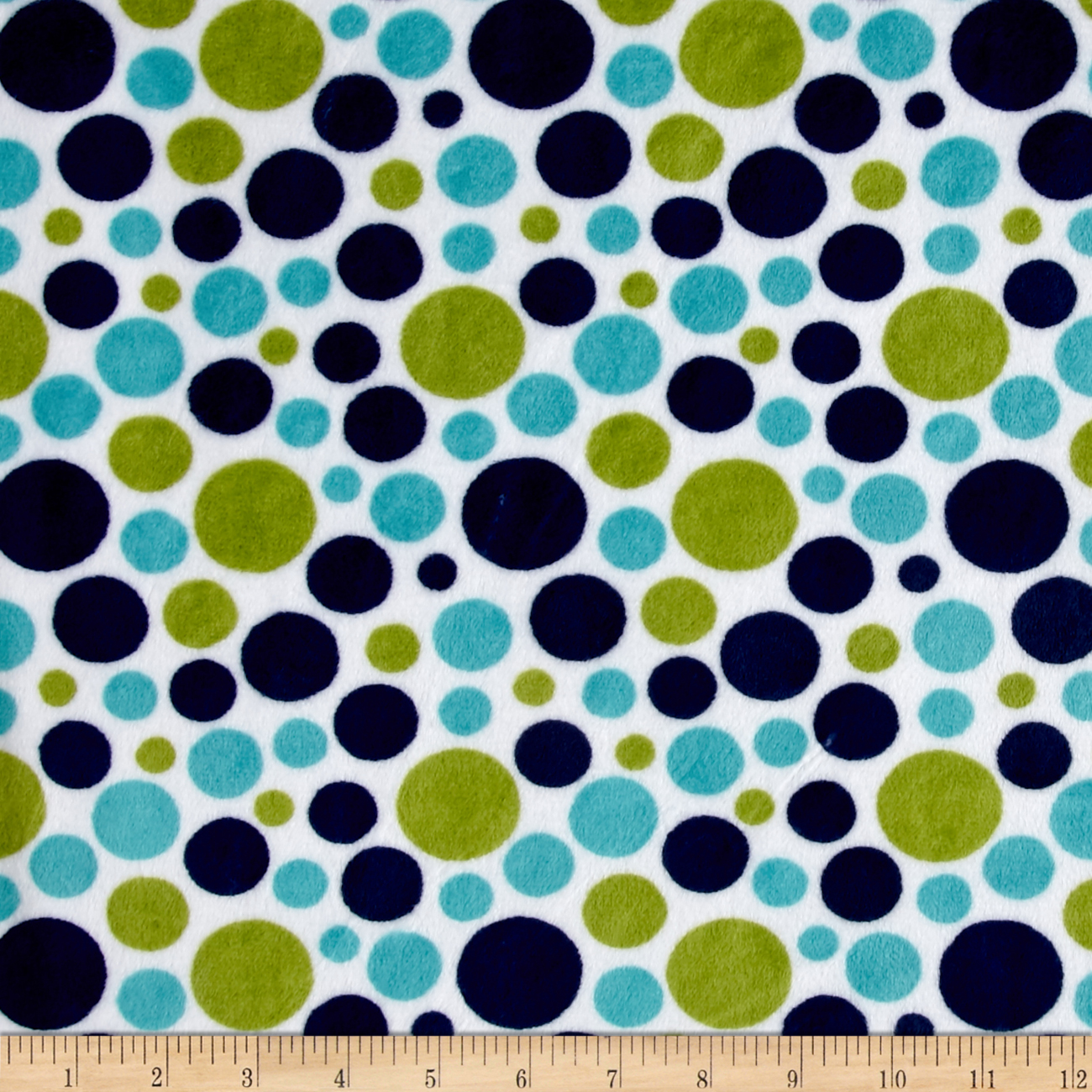 Shannon Minky Classic Bubble Dot Cuddle Midnight/Kiwi Fabric by Shannon in USA