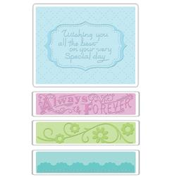Sizzix Textured Impressions Embossing Folders 4 Pack-Wedding Set #3