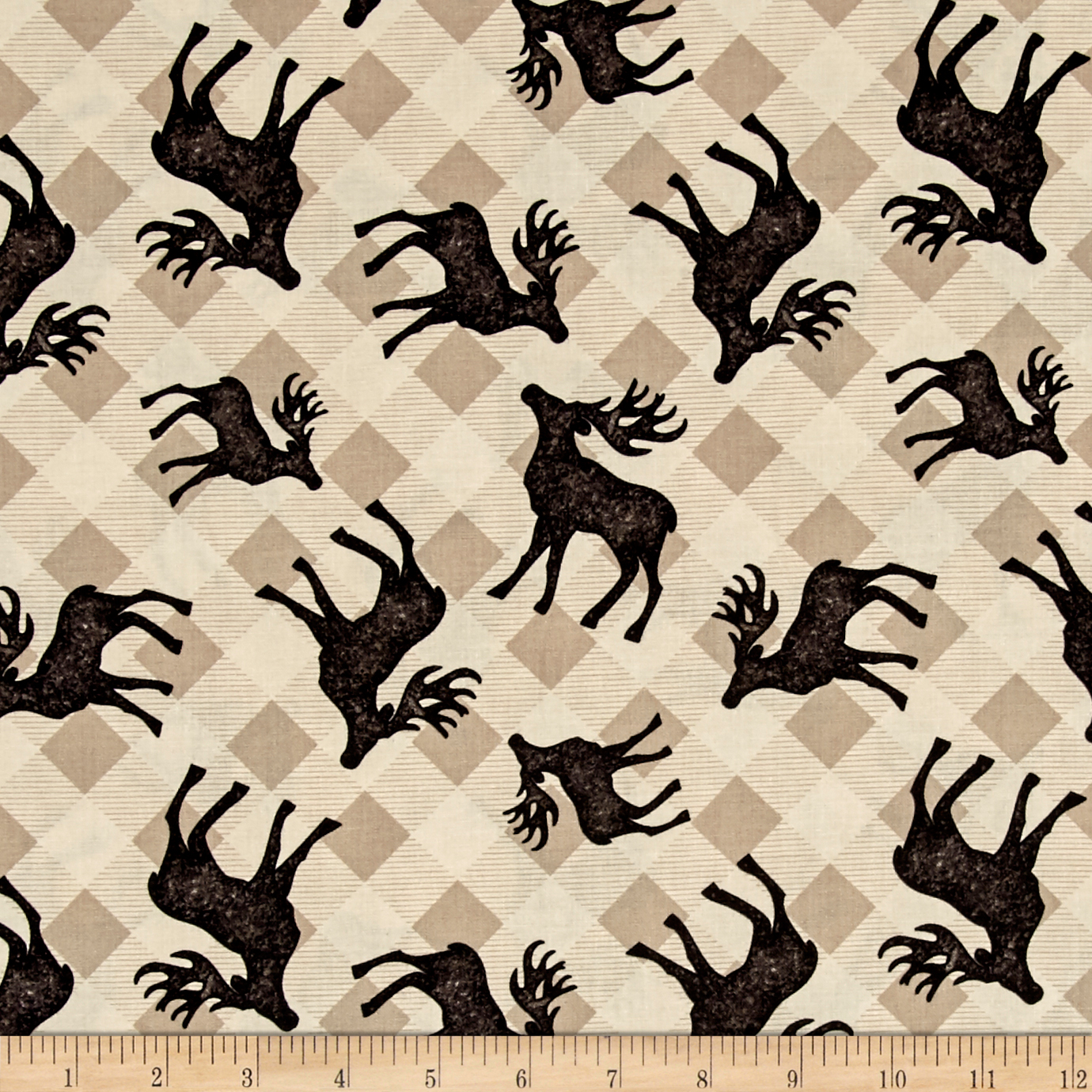 Plaid For The Holidays Deer Toss Tan Fabric