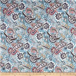 Printed Stretch Denim Boho Paisley Teal