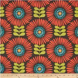 Michael Miller Hashmark Fringe Flowers Clementine Fabric