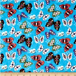 Moda Native Sun Butterflies Turquoise