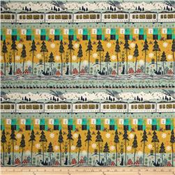 Cotton & Steel Tokyo Train Ride Canvas Train Ride Teal