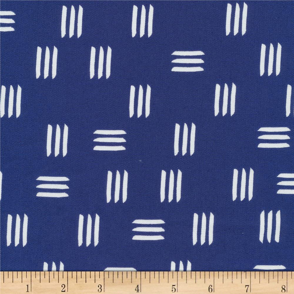 Cloud 9 Organic Lines & Shapes Canvas Dashes Indigo Blue Fabric