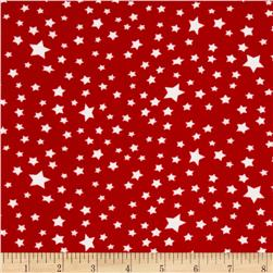 Stretch ITY Knit Stars White/Red