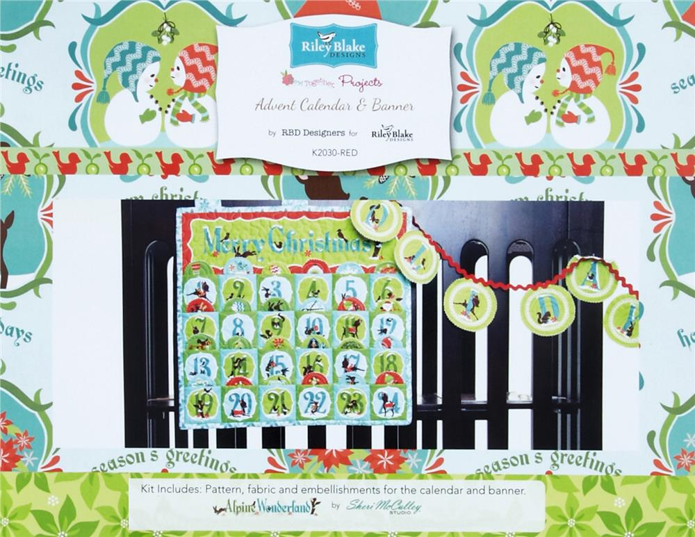 Riley Blake Advent Calendar & Banner Kit Red