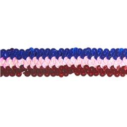 1 1/4'' 3 Row Stretch Metallic Sequin Trim Patriotic