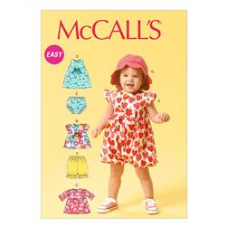 McCall's Infants' Romper, Tops, Dress, Bloomers, Panties, Pants and Hat Pattern M6872 Size YA5