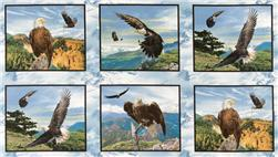 North American Wildlife Eagle Panel Blue