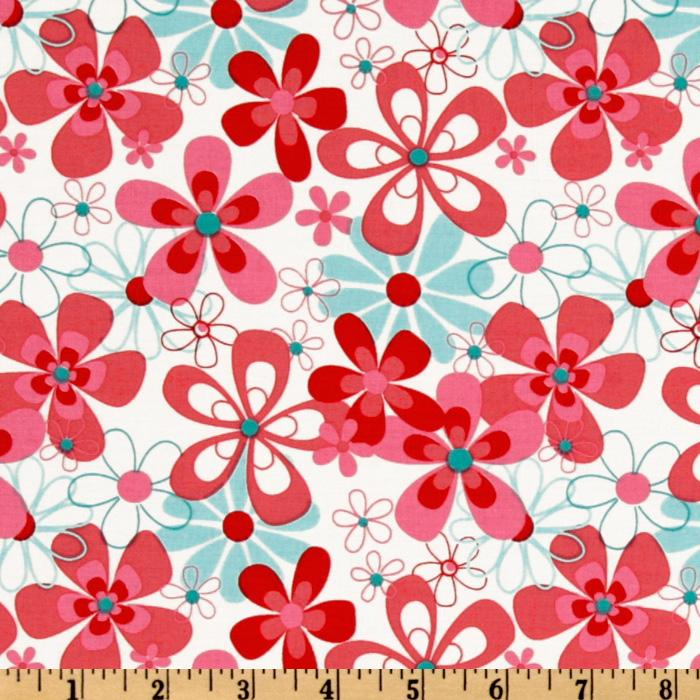 Michael Miller Aqua Red Nearby Floral Aqua