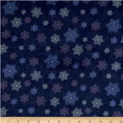 Moda Winter Forest Flannel Snowflakes Indigo