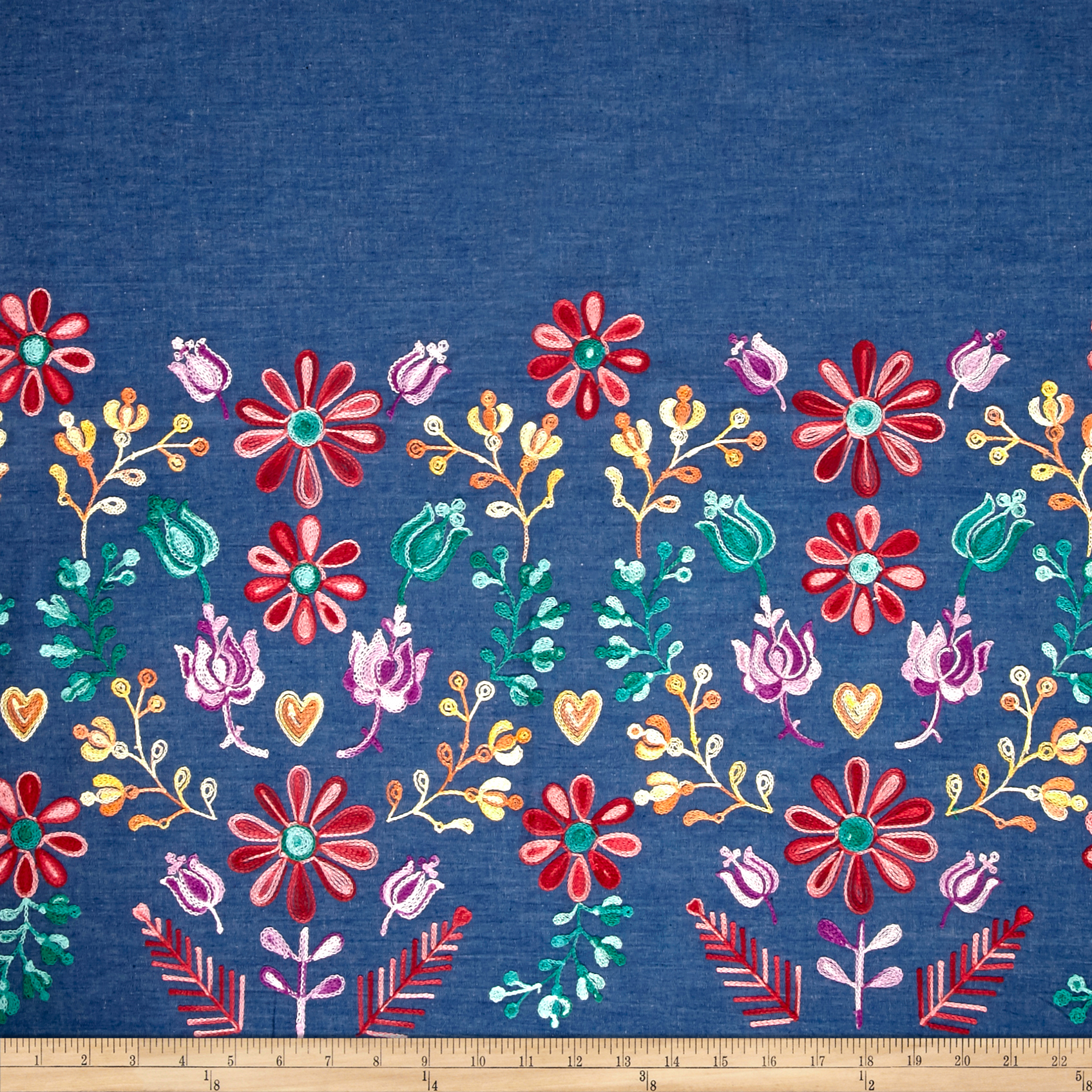 Telio Denim Embroidered Single Border Floral Yellow/Red/Purple Fabric