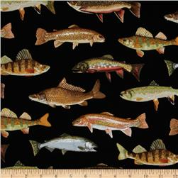 Timeless Treasures Allover Fish Black