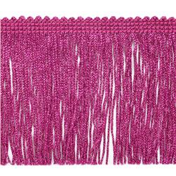 "4"" Metallic Chainette Fringe Trim Fucshia"