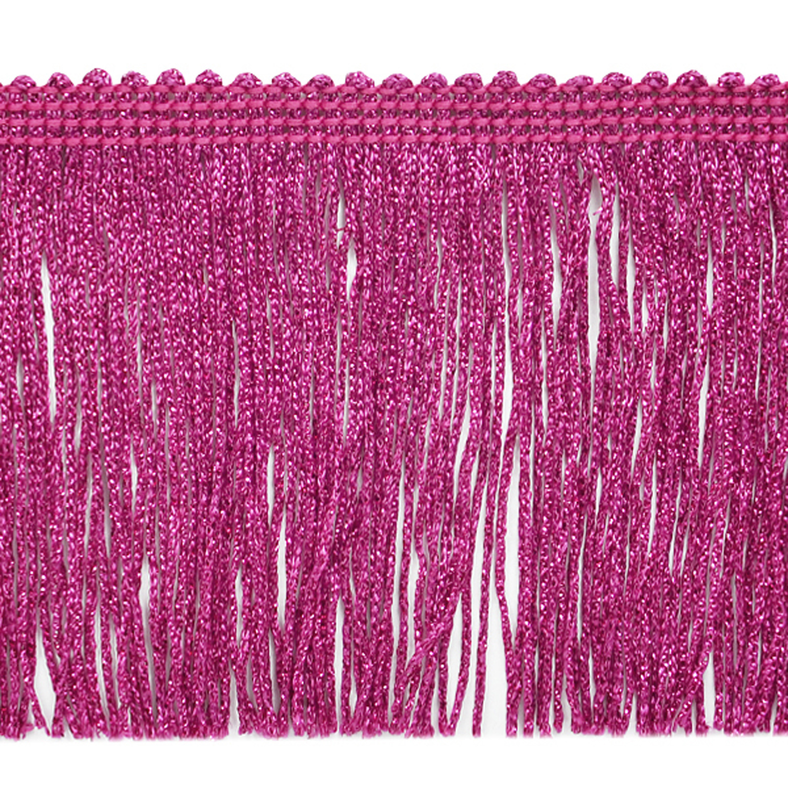 4'' Metallic Chainette Fringe Trim Fucshia