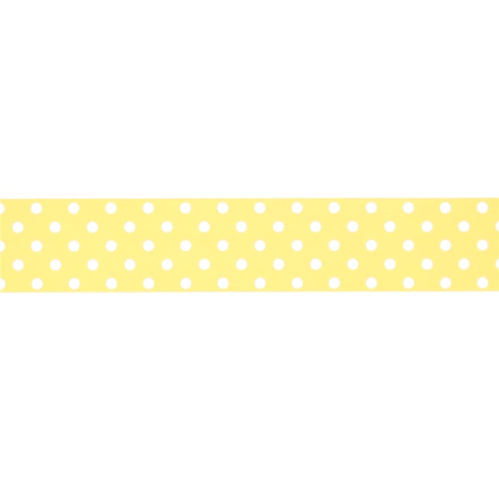 "May Arts 1 1/2"" Grosgrain Dots Ribbon Spool Yellow/White"