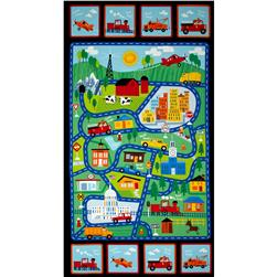 Timeless Treasures Street Map 24'' Panel Multi