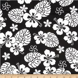 Paradise Pareaus 2 Tropical Flowers Black Fabric