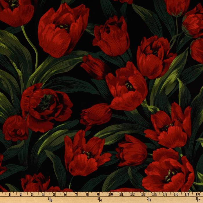Michael Miller Rouge et Noir Ruby Tulips Red