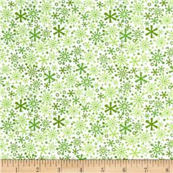 Riley Blake Cotton Jersey Knit Holiday Flakes Green