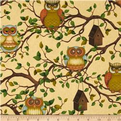 Life's A Hoot Owls On Branches Cream