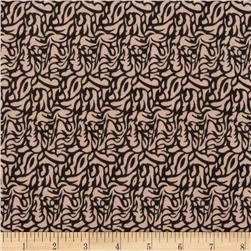 Soft Jersey Knit Abstract Swirls Tan/Black Fabric