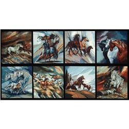 North American Wildlife 2 Horse Panel Black Fabric