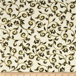 Noel Metallic Scroll Cream/Black