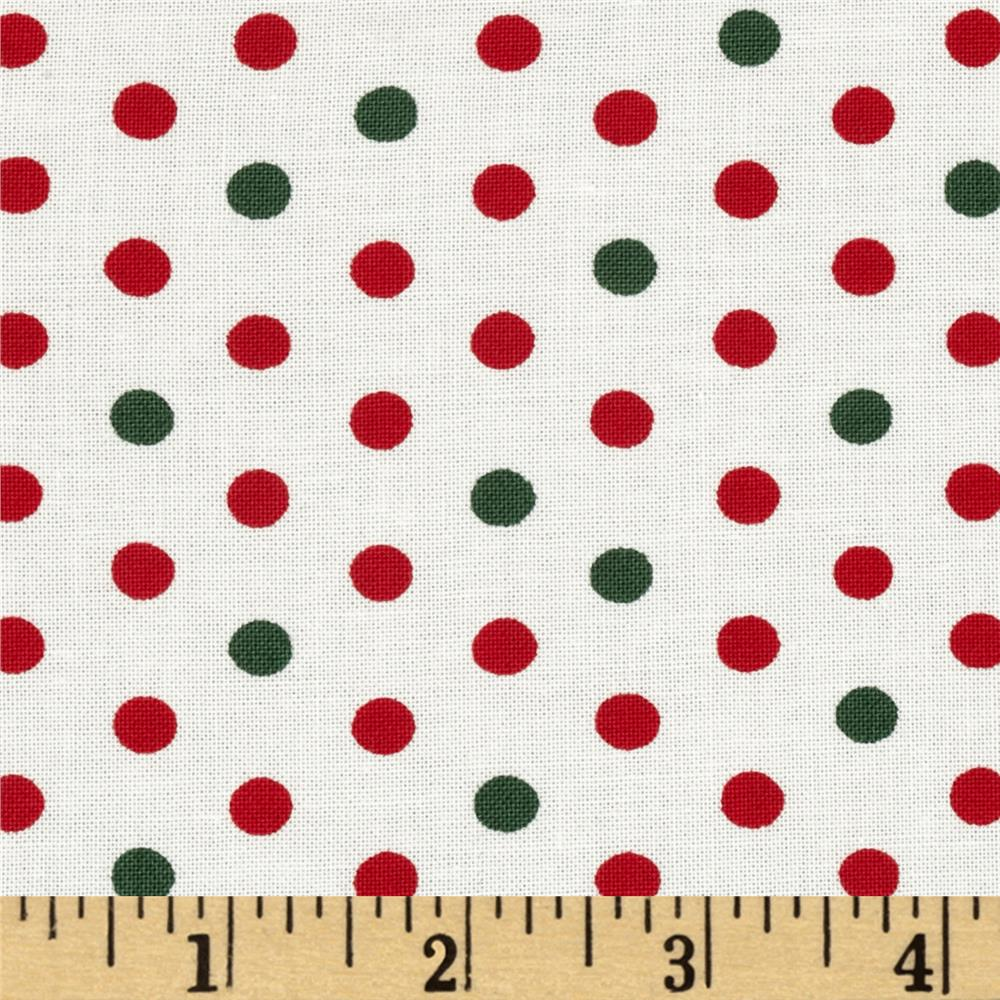 Moda Be Jolly Jolly Polka Dots Snowy White