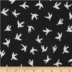 Moda Crepe Bird Black/White