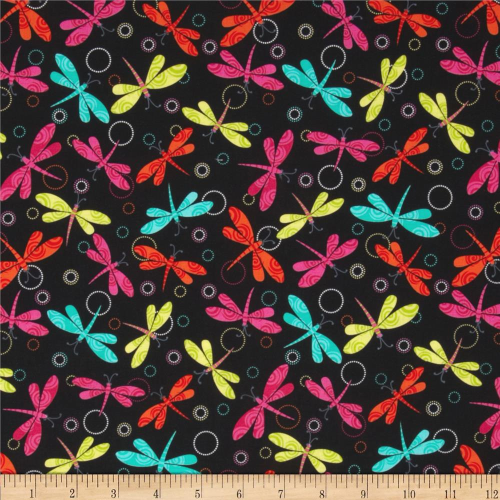 Girls Rock Dragonfly Swirl Black