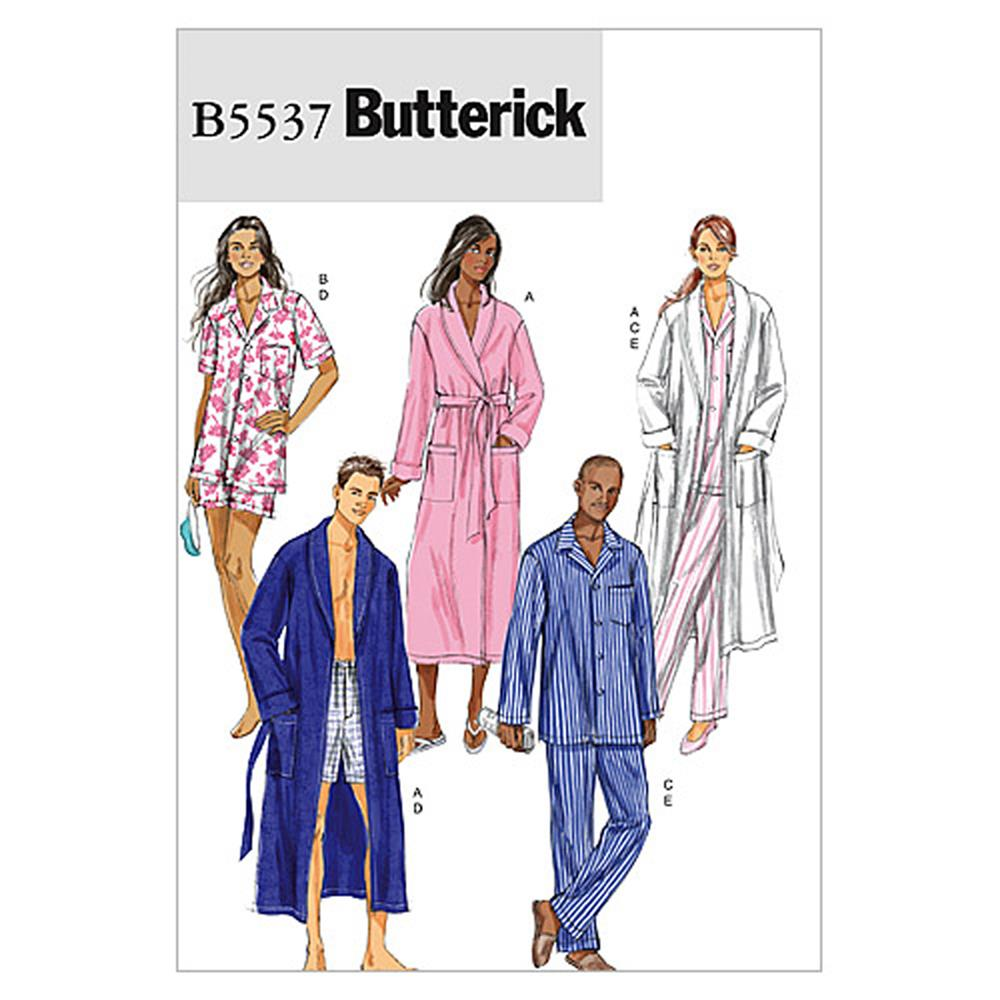 Butterick Misses'/Men's Robe, Belt, Top, Shorts and Pants Pattern B5537 Size XM0