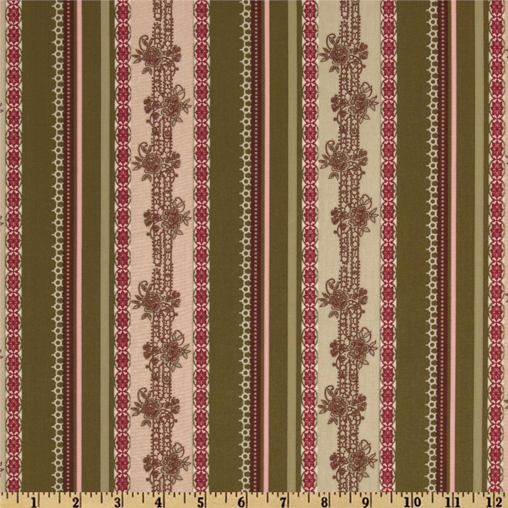 Dashing Roses Collection Stripe Teaberry/Mocha