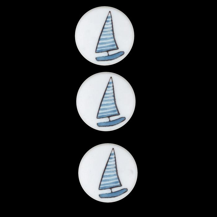 Novelty Button 3/4'' LMH Boat Blue