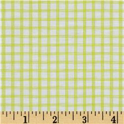 Citrus Tattersall Plaid Lime Fabric