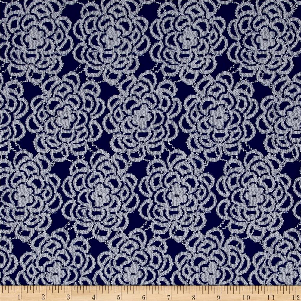 Floral Stretch Lace Royal Bluewhite Discount Designer Fabric