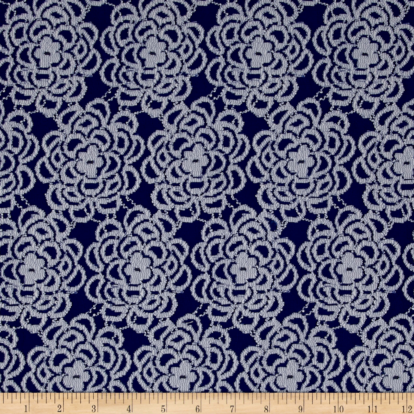 Floral Stretch Lace Royal Blue/White Fabric by Bellagio in USA