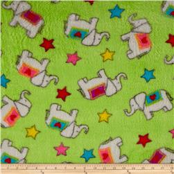 Whisper Coral Fleece Elephants Lime Fabric