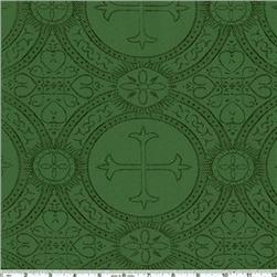 Clergy Brocade Christmas Green Fabric