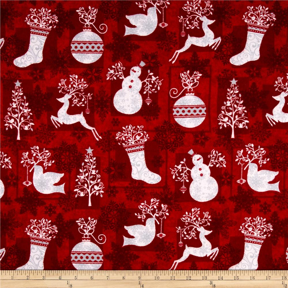 Holiday Frost Flannel Winter Motifs Red Fabric By The Yard