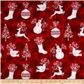 Holiday Frost Flannel Winter Motifs Red