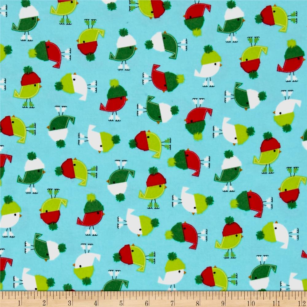 Kaufman Jingle Flannel Birdies Glacier