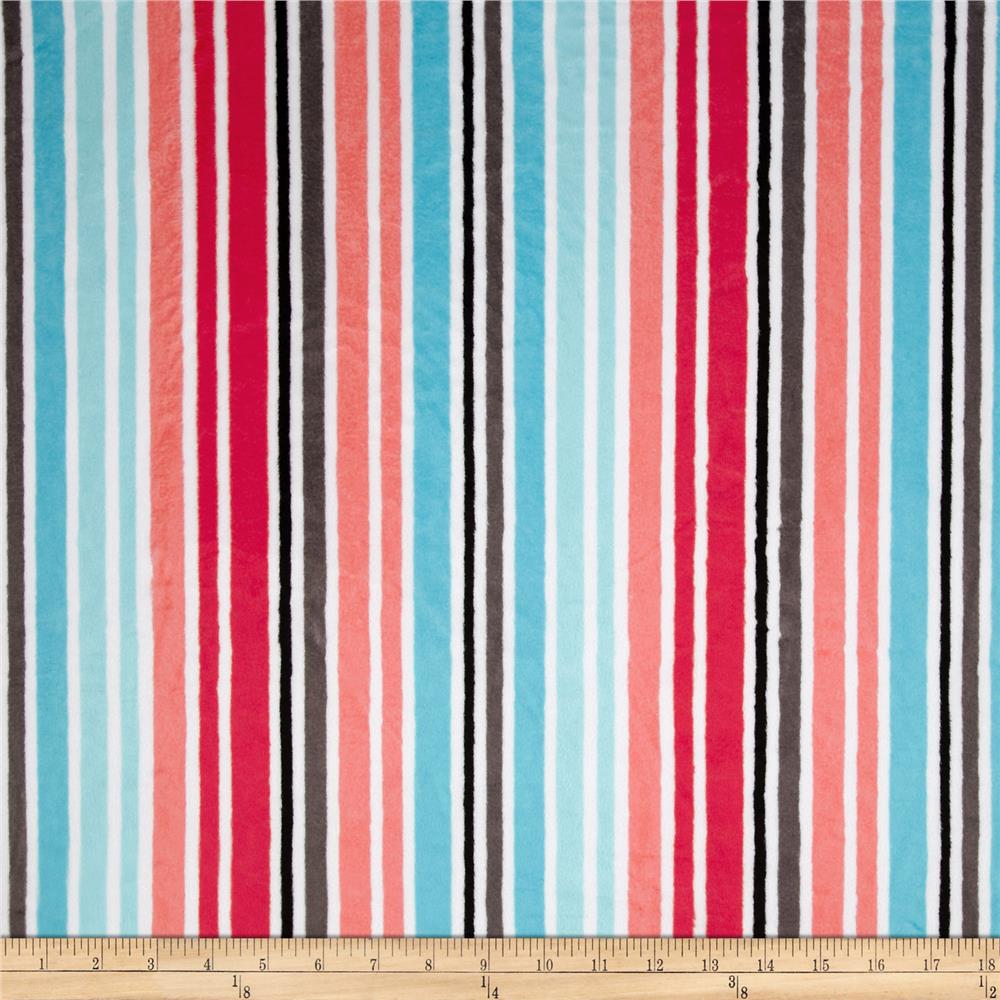 Kaufman Minky Cuddle Candy Stripes Watermelon/Topaz