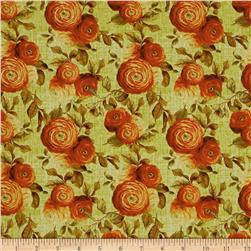 End Of Summer Orange Floral Allover Green